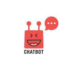 Funny red chatbot icon vector