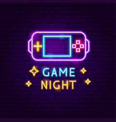 Game night neon label vector
