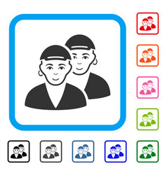 Gay dudes framed gladness icon vector