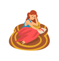 girl lying on carpet on floor and reading book vector image