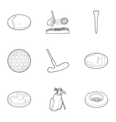 golf competition icons set outline style vector image