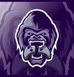 Gorilla mascot logo esport vector
