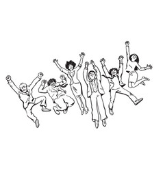 Group of friends have fun jump dance and fool vector