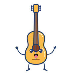 guitar instrument kawaii character vector image