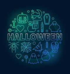 halloween creative round holiday outline vector image