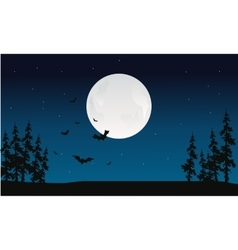 Halloween full moon and bat silhouette vector