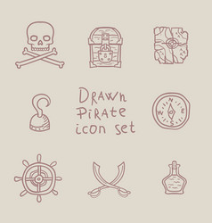 hand drawn pirate icon set vector image