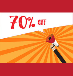 Hand holding megaphone to speech - 70 percent off vector