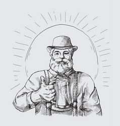 happy characters holding a mug full of beer vector image