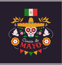 happy cinco de mayo card mariachi skull vector image