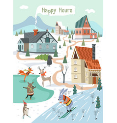 Happy hours of winter holidays animals playing vector