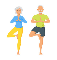happy senior man and woman doing yoga vector image