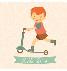 Hello spring card with cute little boy vector