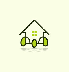 home leaf outline naturally business logo vector image