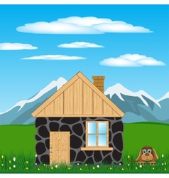 House in mountain vector