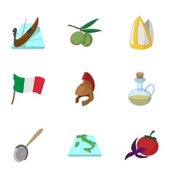 Italy icons set cartoon style vector image