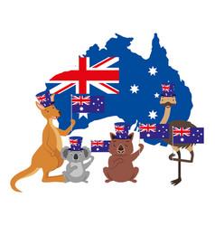 Kangaroo koala wombat and emu australian flag map vector