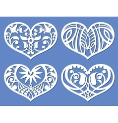 Lacy hearts laser cutting fretwork shapes vector