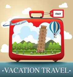 Luggage and travel vacation to Italy vector image