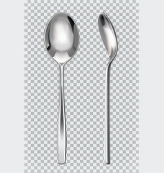 Metal spoons 3d realism icon vector