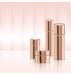 mock up realistic rose gold pastel cosmetic vector image