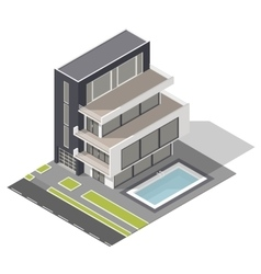 Modern residential building isometric icon set vector image