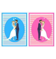 newlywed couple going to kiss man woman on wedding vector image
