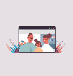 Parents with child during video call family chat vector