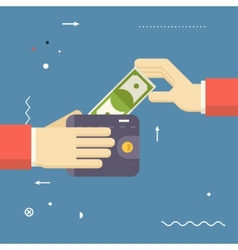 Payment symbol human hands holding banknote vector
