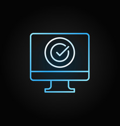 pc with check mark blue linear icon vector image