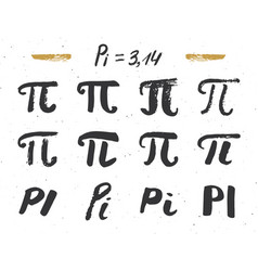Pi symbols hand drawn icons set grunge vector