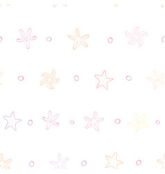 Pink and orange starfish with bubbles in line vector