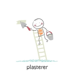 plasterer on the stairs holding a bucket and vector image