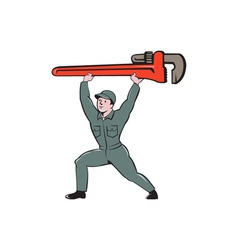 Plumber Lifting Monkey Wrench Cartoon vector image
