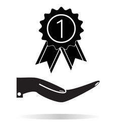 prize in the hand icon on white background flat vector image