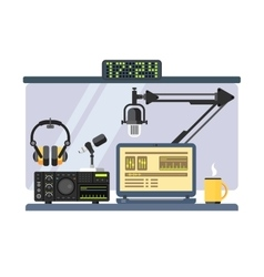 Professional radio station studio vector image