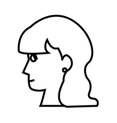 Profile head woman young female outline vector