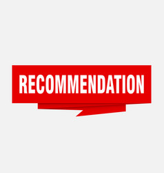 Recommendation vector