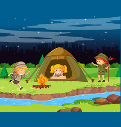 Scene background design with kids camping at night vector