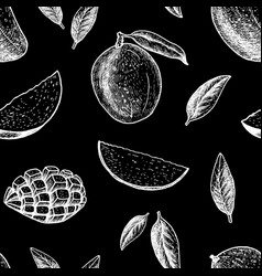 seamless pattern with mango line drawing vector image