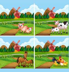 set animal at farmland vector image