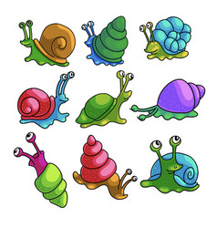 Set colorful comic snails from city zoo region vector