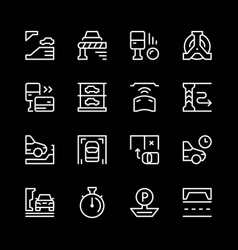 set line icons of parking vector image