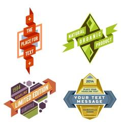 set logo retro ribbon labels and futuris vector image