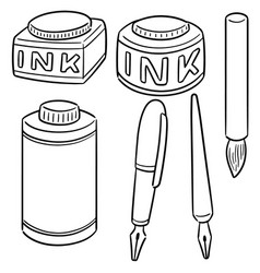 set of ink brush and fountain pen vector image