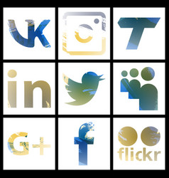 Set of social networking icons web design flat vector