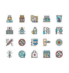 set vaccination color line icon medical jar vector image