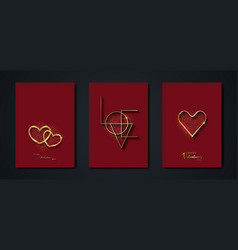 set valentines day greeting card gold heart logo vector image