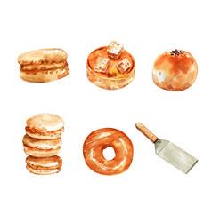 Set watercolor bun donut macaron cake a vector