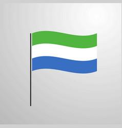 sierra leone waving flag vector image